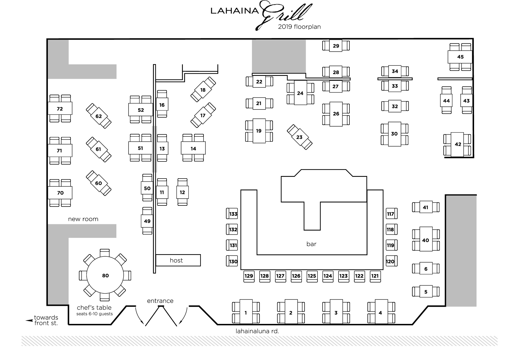 Lahaina Grill Floor Plan